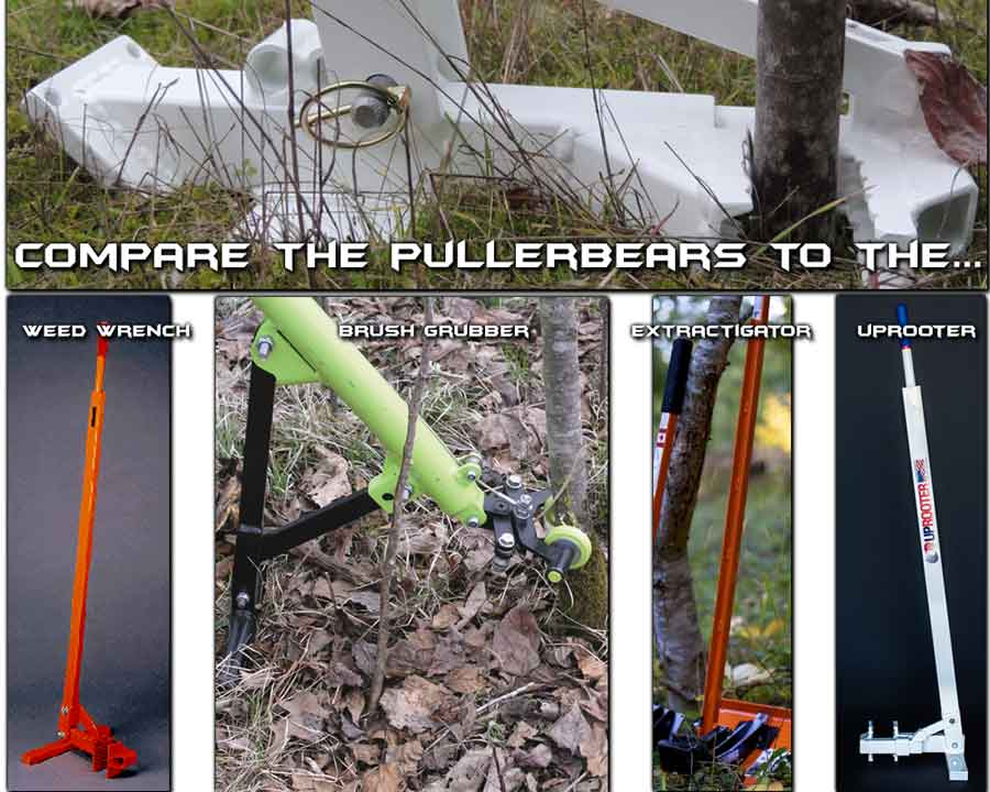 compare pullerbears to weed wrench, brush grubber, extractigator, uprooter